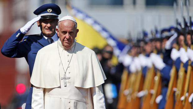 Pope Francis arrives in Sarajevo for a one-day visit to encourage reconciliation (AP)