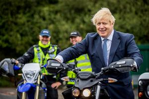 'Don't lose focus': Britain's PM Boris Johnson visits police in Northallerton in the north of England. PHOTO: REUTERS