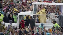Pope Francis arrives for a Mass at Rizal Park, in Manila, Philippines (AP)