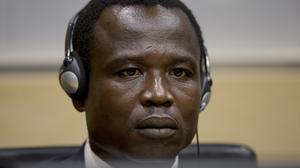 Dominic Ongwen, a Ugandan commander in warlord Joseph Kony's feared militia, facing a court in The Hague. (AP)