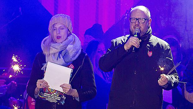 Gdansk mayor Pawel Adamowicz, right, speaks to an audience shortly before he was stabbed (Anna Rezulak/KFP/AP)