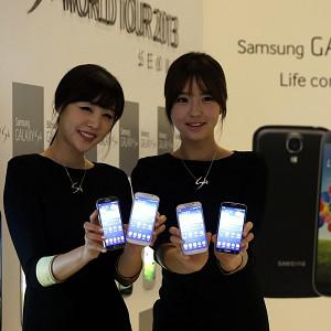 Models show Samsung's latest smartphone, the Galaxy S4, during its unveiling ceremony in Seoul, South Korea (AP)