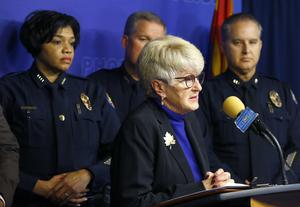 Phoenix mayor Thelda Williams speaks during a news conference (Ross D Franklin/AP)