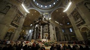 Pope Francis celebrates an Armenian-Rite Mass inside St Peter's Basilica to commemorate the 100th anniversary of the Armenian Genocide (AP)