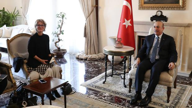 United Nations Special Rapporteur Agnes Callamard meets Turkey's Foreign Minister Mevlut Cavusoglu (Cem Ozdel/Turkish Foreign Ministry/AP)