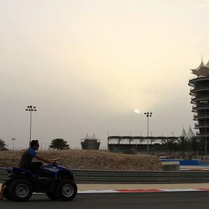 Track preparations are under way at the Bahrain International Circuit (AP)