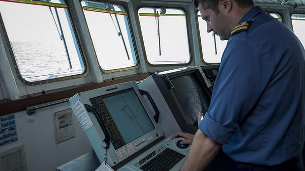 The crew of survey ship HMS Echo helps during the search for the missing Malaysia Airlines plane in the southern Indian Ocean (MoD/PA)