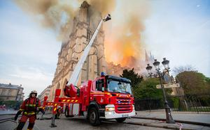 French firefighters tackle the fire at Notre Dame cathedral (Benoit Moser/Pompiers de Paris/PA)