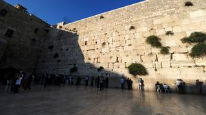 The Western Wall also known as the Wailing Wall within the Old City of Jerusalem.