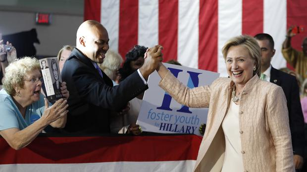 Democratic presidential candidate Hillary Clinton is greeted as she arrives at a campaign event at John Marshall High School in Cleveland (AP)