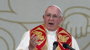 Pope Francis speaks at a meeting in the Republic Square in Yereven, Armenia, during his three-day visit (AP)