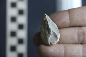 A stone tool found in a cave in Zacatecas, central Mexico (Ciprian Ardelean via AP)