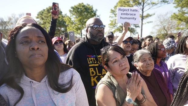 People attend a community rally for seven-year-old Jazmine Barnes (Melissa Phillip/Houston Chronicle/AP)