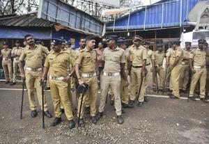 Indian policemen deployed to guard against protesters (AP)