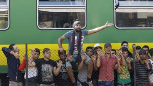 A train loaded with migrants which has been held at Bicske, Hungary. (AP)