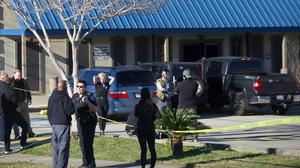 The gunman was killed when customers of the gun store and shooting range opened fire on him. Photo: PA Media.