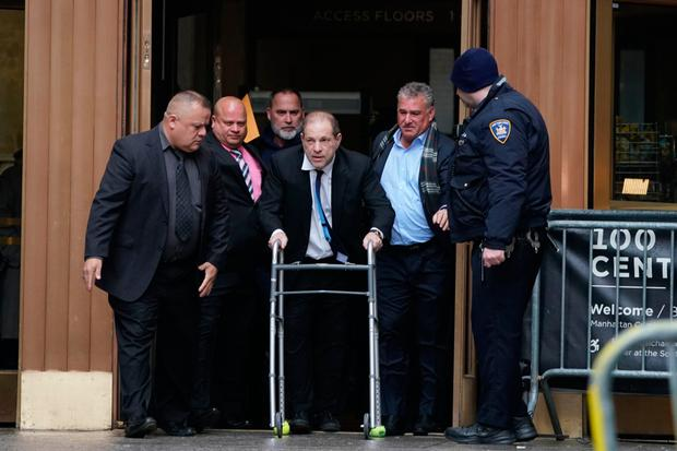 Controversy: Harvey Weinstein leaves Manhattan Criminal Court using a walker, following a hearing last week. Photo: Bryan R Smith/AFP via Getty