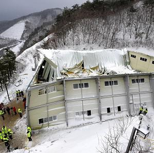 The roof an auditorium collapsed during a welcoming ceremony for university students in Gyeongju, South Korea (AP)