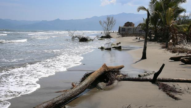 The beach at  Cuyamel near San Pedro Sula, Honduras, where the rising sea levels are forcing people from their homes