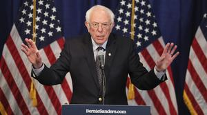 Bernie Sanders speaks to reporters in Burlington, Vermont (Charles Krupa/AP)