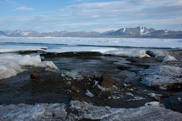 A photo provided by Morten Rasch, shows a the newly discovered Island, off the coast of Greenland. Picture: Morten Rasch/AP