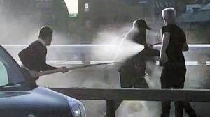 Usman Khan is tackled by a Polish chef using a narwhal tusk and by another man wielding a fire extinguisher