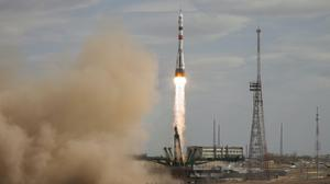 In this handout photo released by Roscosmos Space Agency Press Service the Soyuz-2.1A rocket booster with Soyuz MS-16 space ship carrying a new crew to the International Space Station, ISS, blasts off at the Russian leased Baikonur cosmodrome, Kazakhstan, Thursday, April 9, 2020. The Russian rocket carries U.S. astronaut Chris Cassidy, Russian cosmonauts Anatoly Ivanishin and Ivan Vagner. (Roscosmos Space Agency Press Service via AP)