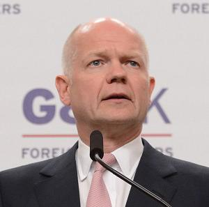 Foreign Secretary William Hague holds a news conference after hosting the G8 Foreign Ministers meeting in London