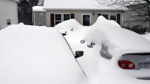Cars are buried by the snowstorm in Marlborough, Massachusetts, but the New York area was largely spared (AP)