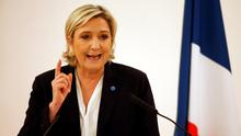 Marine Le Pen delivers a speech on citizenship in Paris earlier this week. Photo: Reuters/Charles Platiau
