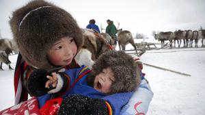 Nenets children attend the Reindeer Herder's Day holiday in the city of Nadym (AP)
