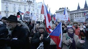 Hundreds of people gather during an anti-Islam rally in Prague. (AP)