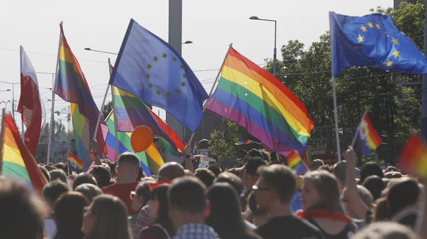 Gay rights supporters take part in an event in Warsaw, Poland (AP/Czarek Sokolowski)