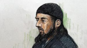 A court sketch by Elizabeth Cook of Haroon Aswat as the British terror suspect admitted charges of plotting to set up a terrorist training camp in the US (AP)