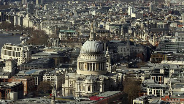 The London skyline as seen from Tower 42 with St Paul's Cathedral prominent.