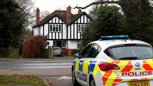 A police car outside an address in Wokingham, England, linked by local media to Christopher Steele, named as the author of a dossier on Donald Trump. Photo: Reuters