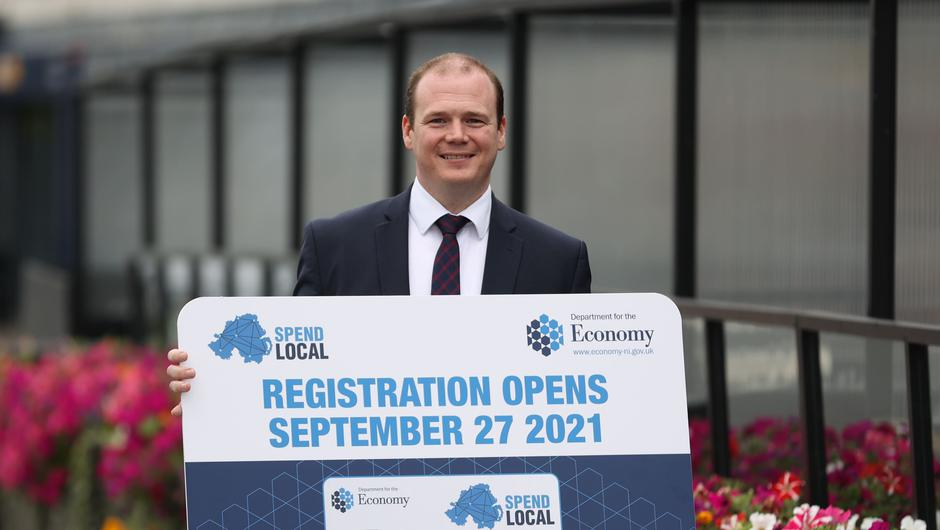 Economy Minister Gordon Lyons said a high street voucher scheme, which will offer pre-paid cards worth £100 to every adult in Northern Ireland, will open for applications on September 27 (Liam McBurney/PA)
