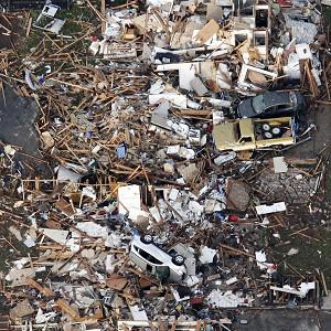 An aerial photo shows the remains of houses in Moore, Oklahoma after the tornado hit (AP)