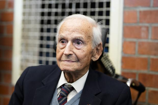 Leon Schwarzbaum attends the trial against a 100-year-old former concentration camp guard at a court in Brandenburg, Germany (Markus Schreiber/AP)