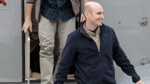 French hostage Nicolas Henin arriving at an air base near Paris after his release in April (AP)