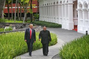 Donald Trump and Kim Jong Un in Singapore (Kevin Lim/The Straits Times/PA)
