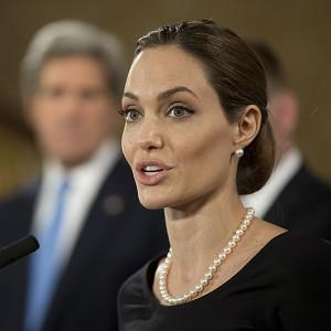 US actress Angelina Jolie, in her role as UN envoy, speaks during the G8 Foreign Ministers meeting in London
