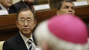 UN Secretary-General Ban Ki-moon and Ecuador's president Rafal Correa attend a Vatican conference on the environment (AP)