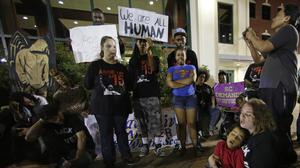 Protesters demonstrate in front of city hall in North Charleston after the killing of Walter Scott by a police officer after a traffic stop (AP)