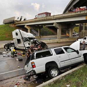 A tornado caused extensive damage along the I-40 motorway in Oklahoma (AP)