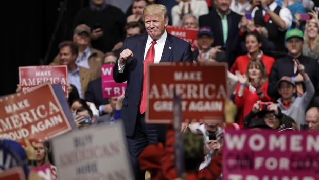 President Donald Trump acknowledges applause as he leaves the stage after speaking at a rally in Nashville (AP Photo/Mark Humphrey)
