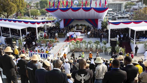 Haitians attend the funeral of former President Rene Preval