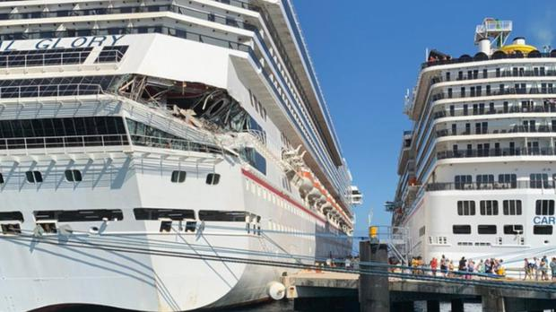 Carnival's Glory and Legend ships collided (@cmaxeyy/Twitter/PA)