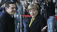 German chancellor Angela Merkel welcomes Greek prime minister Alexis Tsipras to Berlin (AP)
