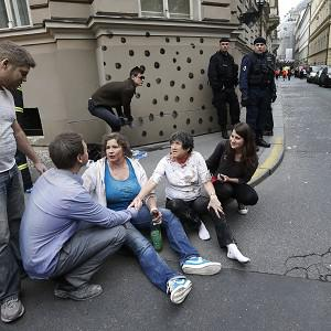 Some of the injured caught in the Prague explosion (AP)